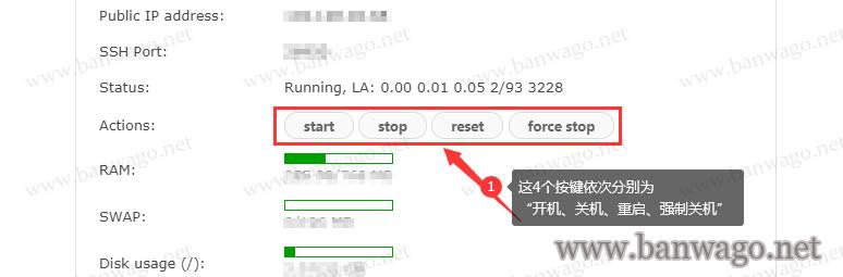 搬瓦工KiwiVM后台的start、stop、reset、force stop的含义是什么